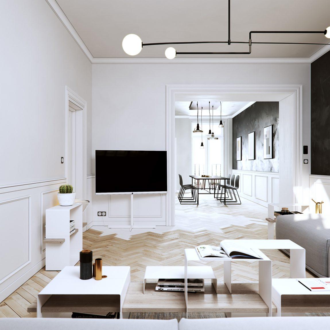 3D ontwerpen van een modern klassiek appartement