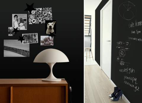 schoolbordverf aan de muur inrichting. Black Bedroom Furniture Sets. Home Design Ideas