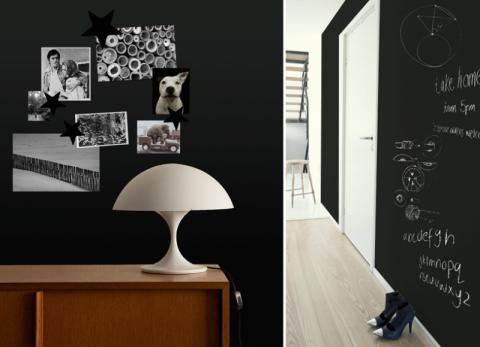 schoolbordverf aan de muur inrichting. Black Bedroom Furniture Sets. Home Design Ideas
