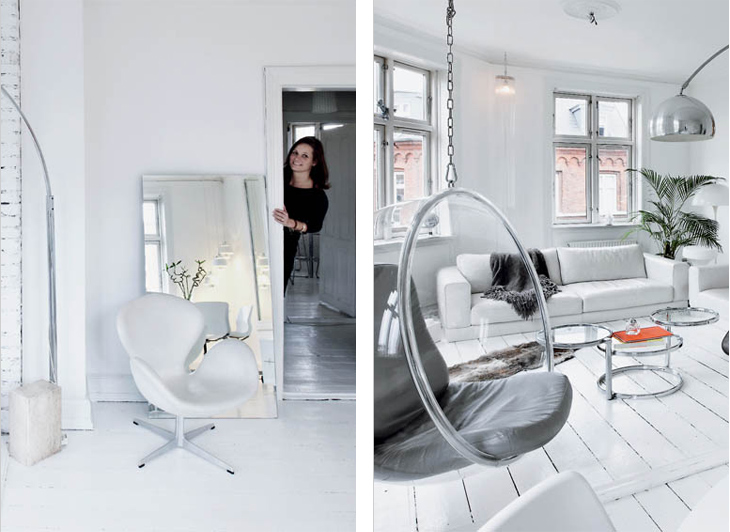 Woonkamer Inrichten Glamour : Wit en retro inrichting in Denemarken ...