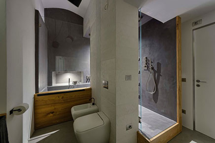 Bathroom with concrete concrete cire and wood inrichting - Badkamer inrichting ...