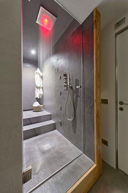 Badkamer met beton, beton cire en hout