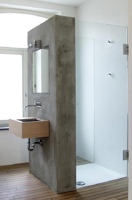 Badkamer met betonnen afwerking | Inrichting-huis.com