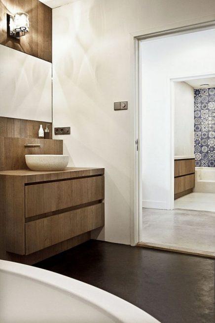 Badkamer met mooie materialen en kleuren combinatie inrichting - Een mooie badkamer ...