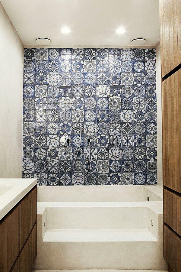 Badkamer met mooie materialen en kleuren combinatie