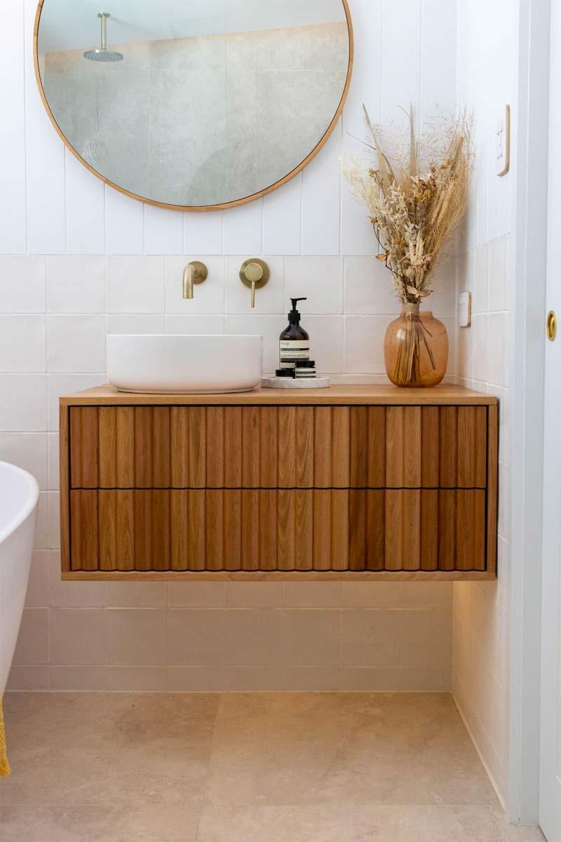 badkamer zwevende houten badkamermeubel