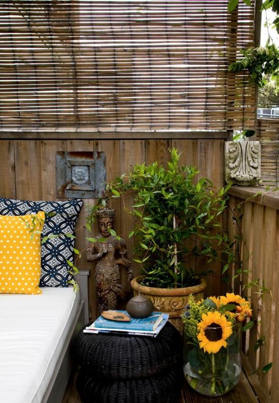 balkon afschermen met rieten matten inrichting