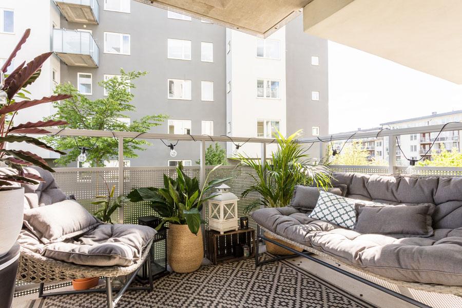 Balkon inspiratie van een klein appartement van 46m2 inrichting
