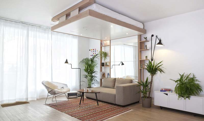 Bedup plafond uitklapbed