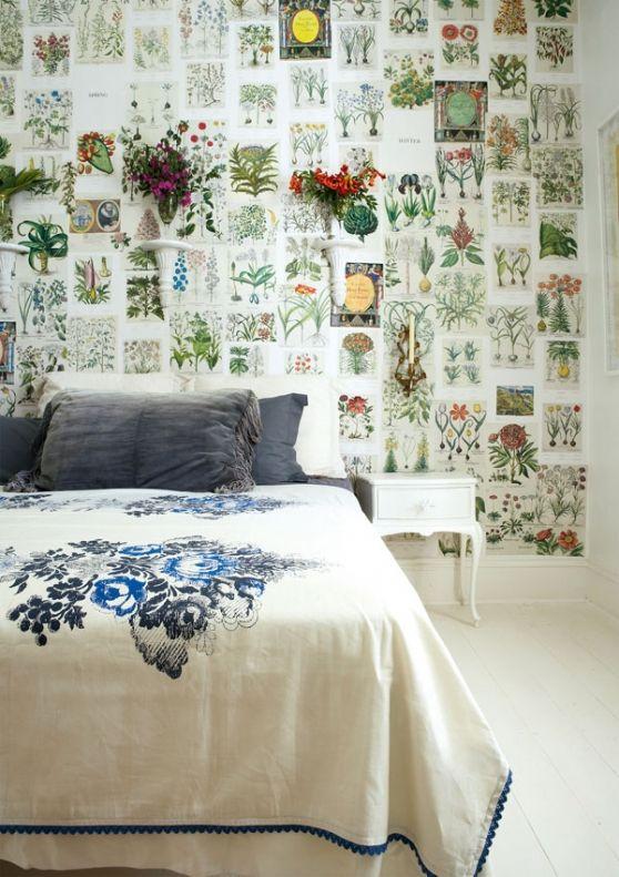 Behang in een landelijk interieur