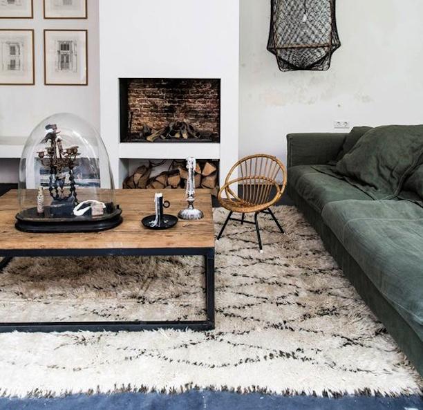 Berber vloerkleed met ruit patroon inrichting for Vloerkleed woonkamer