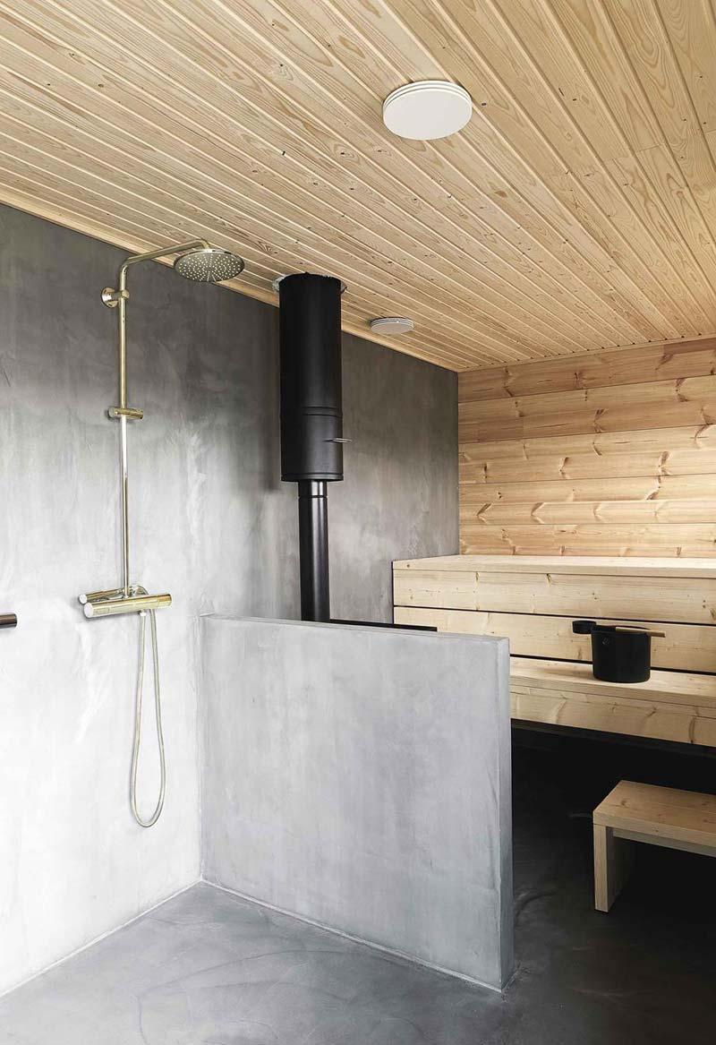 beton cire in badkamer met sauna