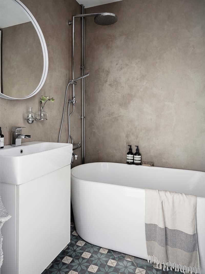 beton cire patroontegels badkamer