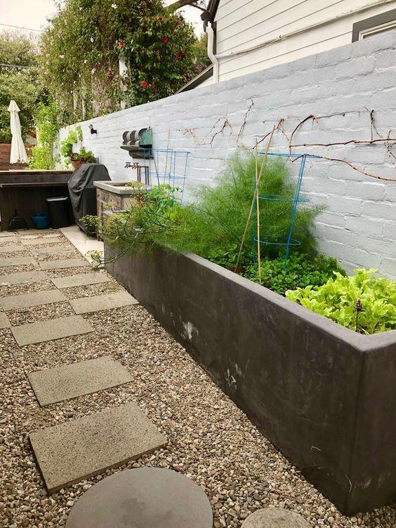 Betonnen plantenbak ideeën tuin