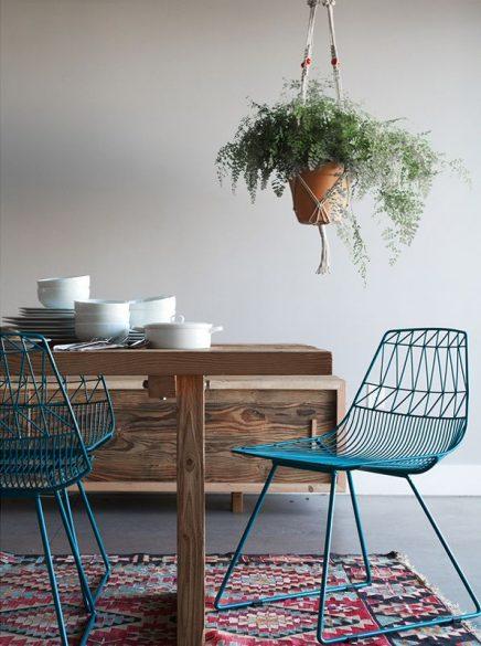 Blauwe eetkamerstoelen