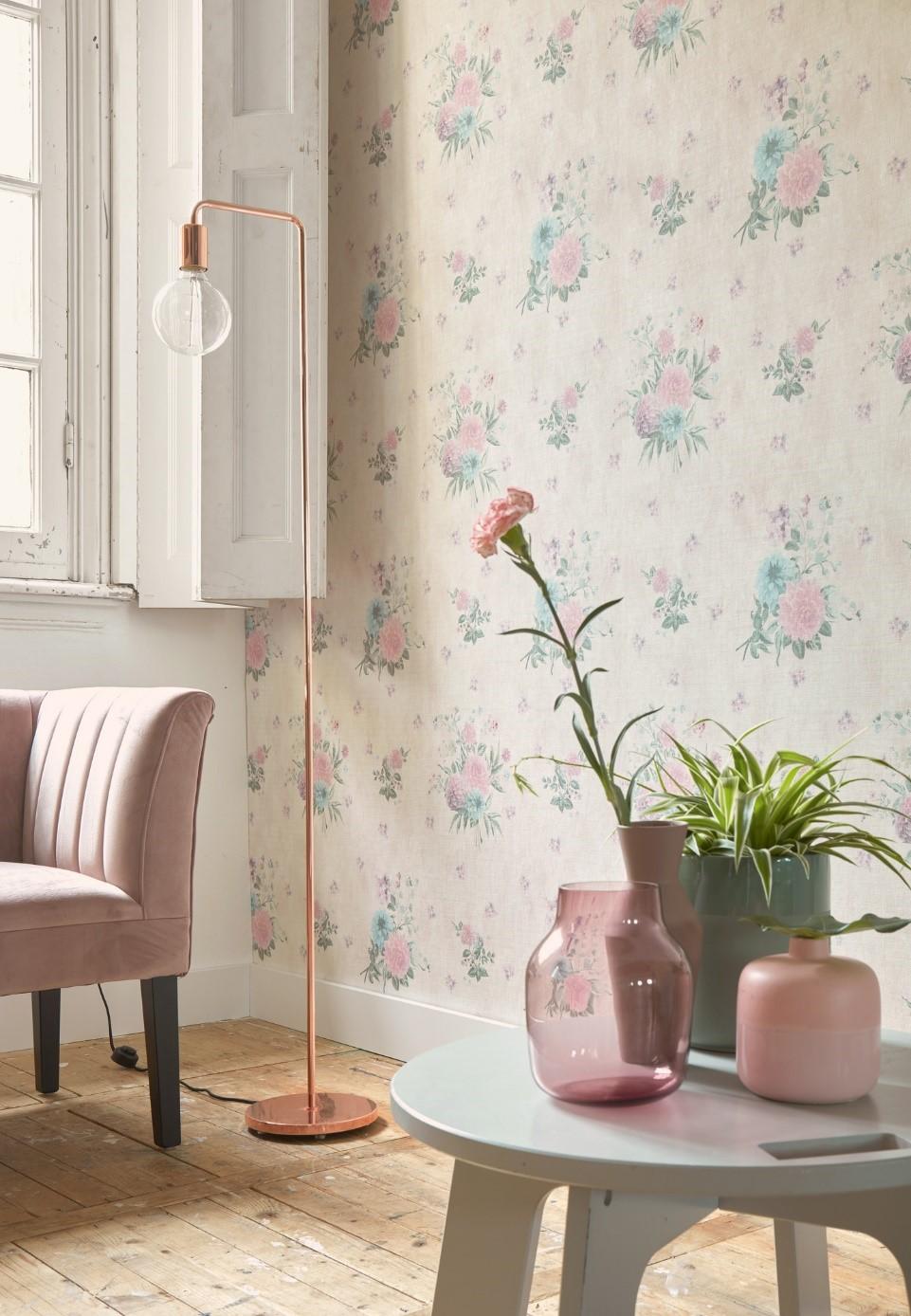bloemen behang roze