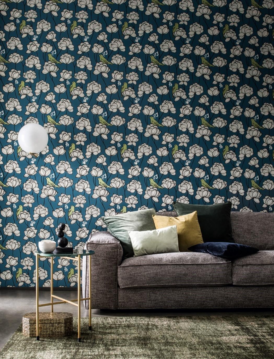 bloemen behang patroon groen