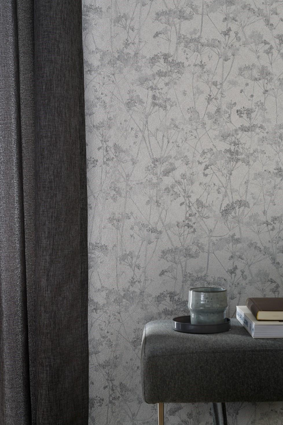 bloemen behang grijs