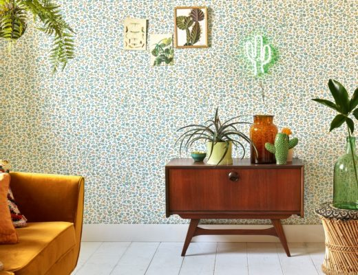 vintage bloemen behang groen woonkamer