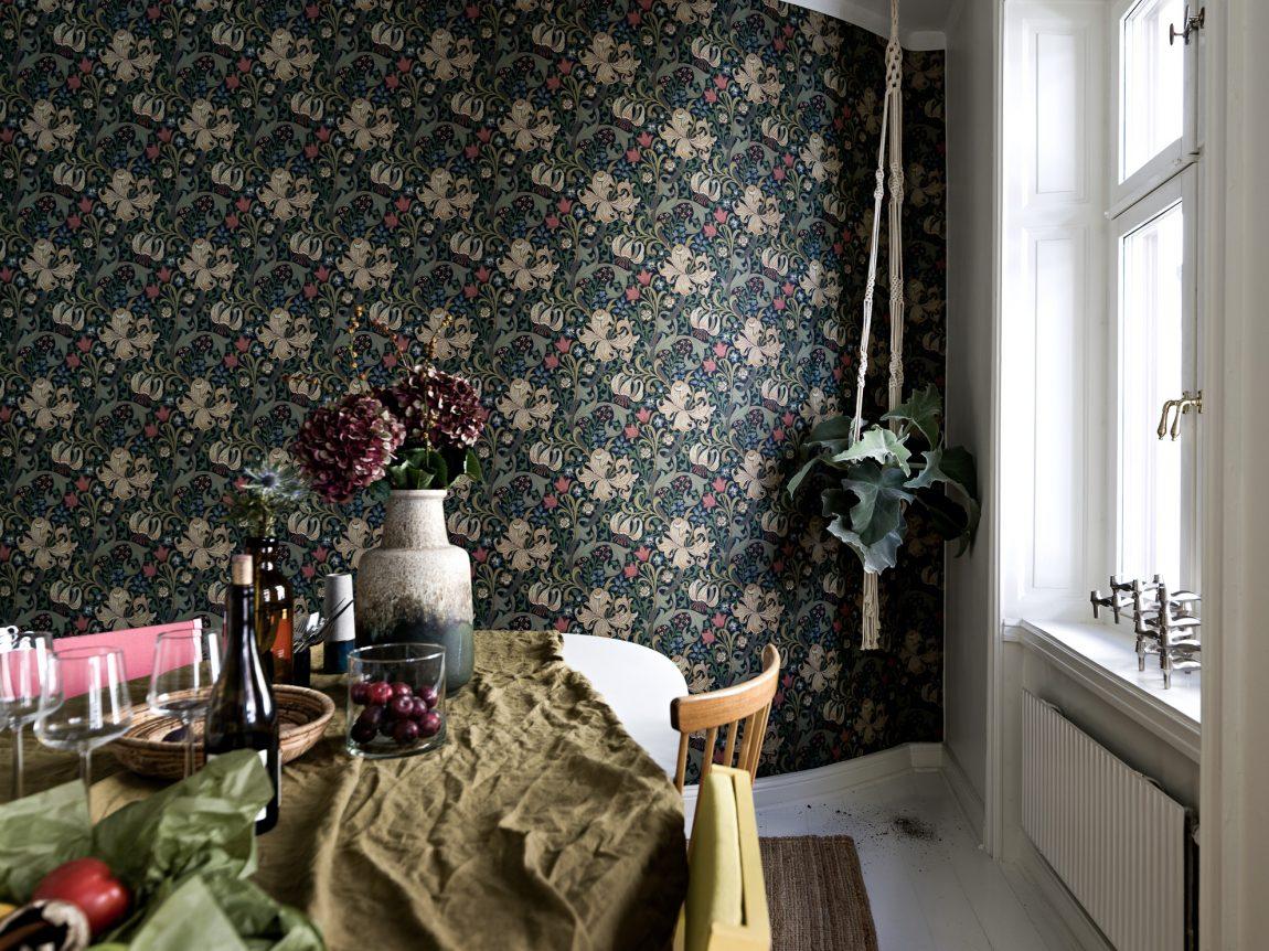 bloemetjesbehang-leefkeuken