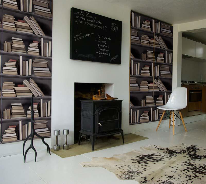 boekenkast behang woonkamer