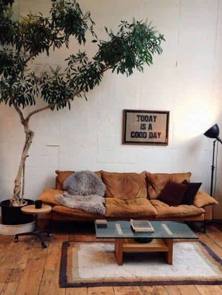 Boom in huis inrichting - Idee deco grote woonkamer ...