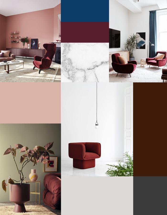 bordeaux rood combineren interieur