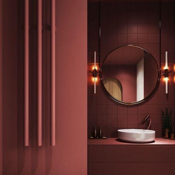 boredeaux rode muur badkamer