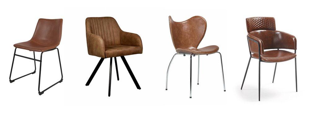 Verschillende eetkamerstoelen in dezelfde kleur combineren for Witte leren stoelen