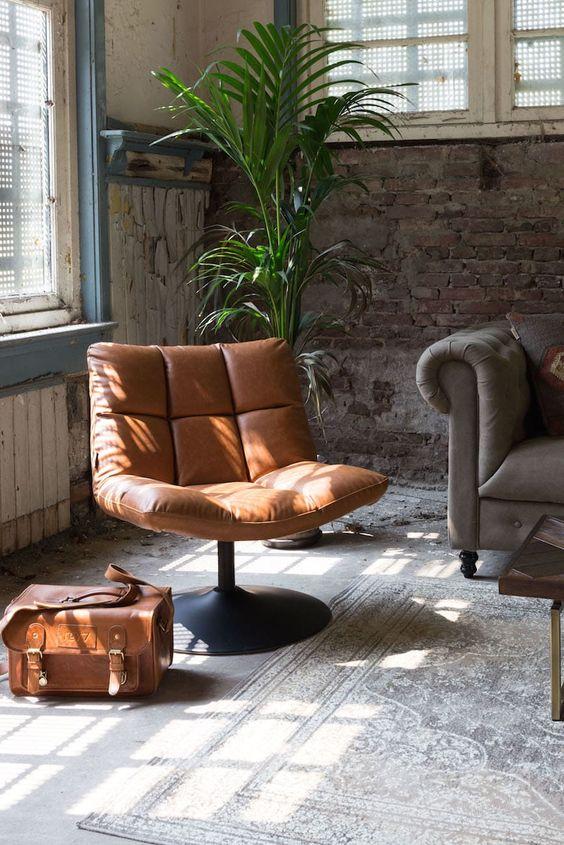 Cognac leren loungestoel