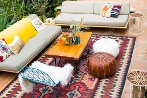 Dakterras babyshower met vintage meubels