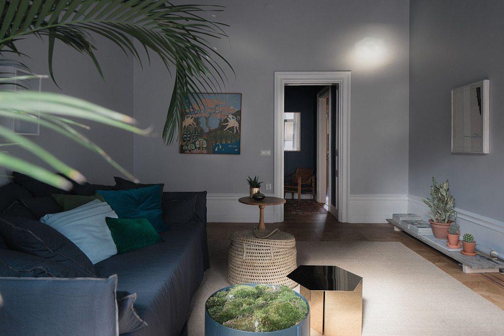 Mooie blauw grijze woonkamer inrichting for Grijze woonkamer