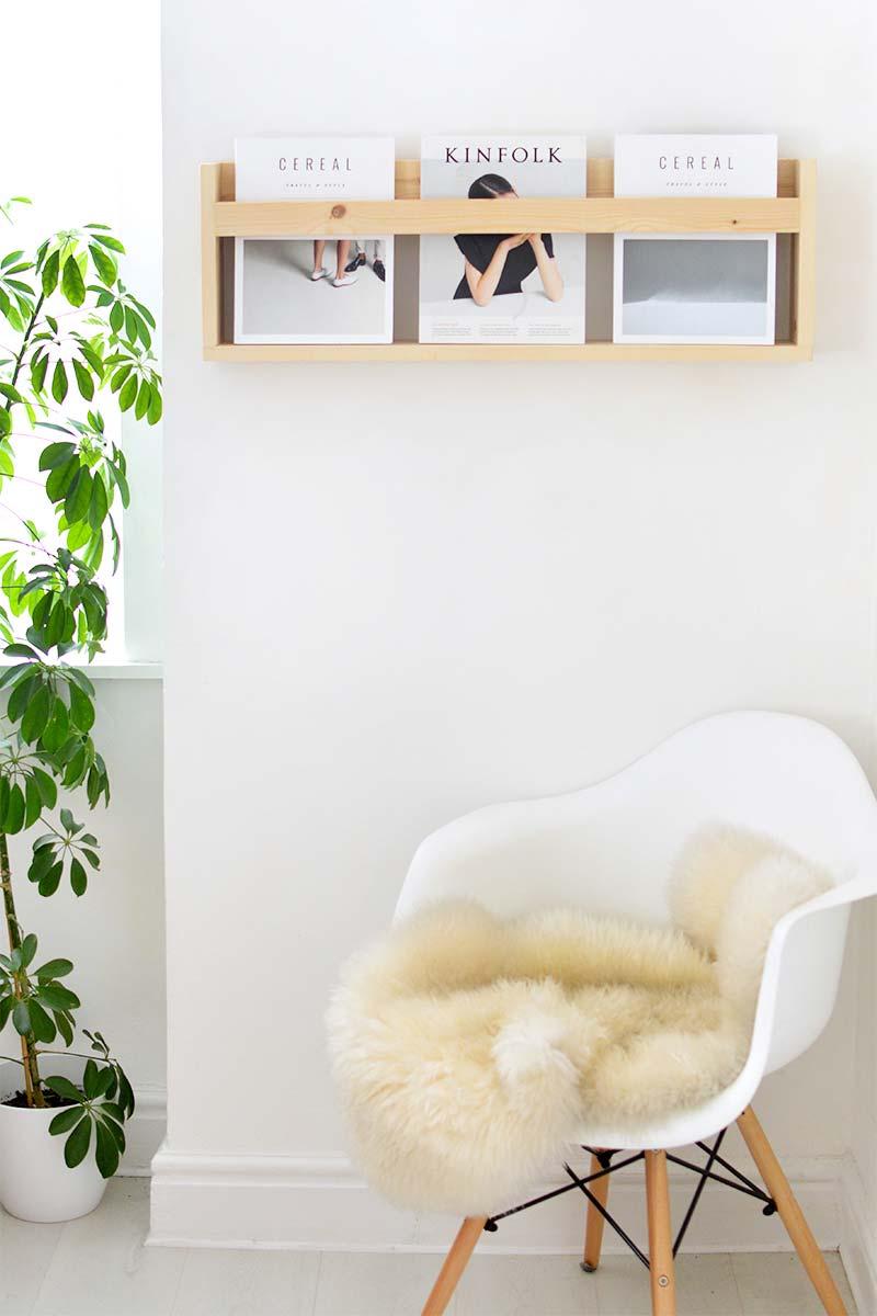 DIY Minimalistische houten tijdschriftenrek