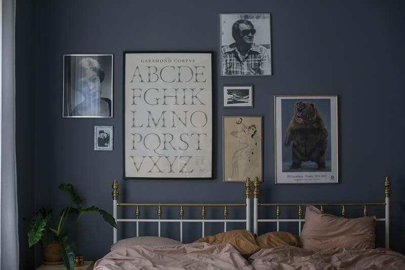donkerblauwe muur slaapkamer collage