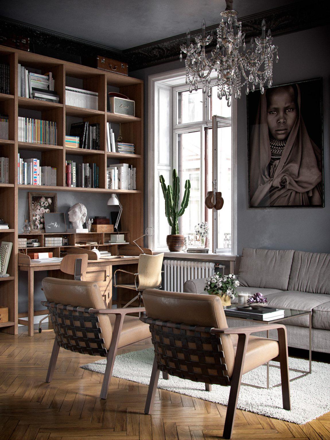 Woonkamer met een eclectisch interieur en een zwart for Klassiek en modern interieur combineren