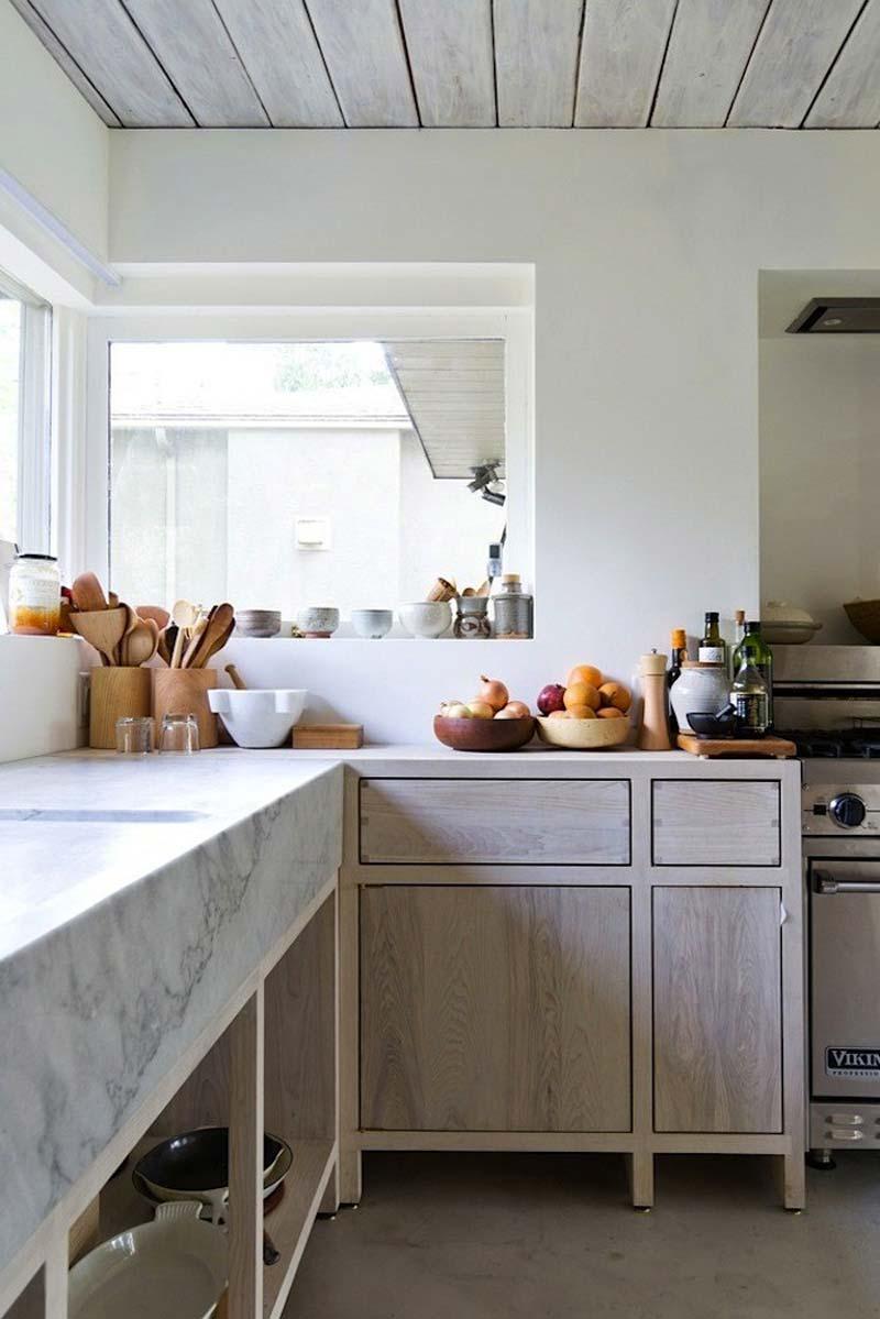 essenhouten keuken marmeren werkblad