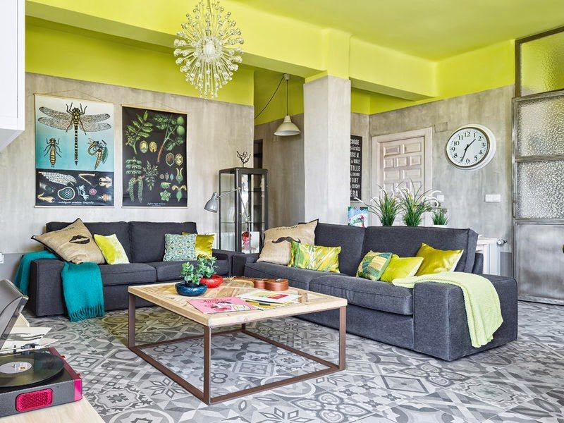 Gekleurde Eyecather Huis : Gekleurde plafonds inrichting huis