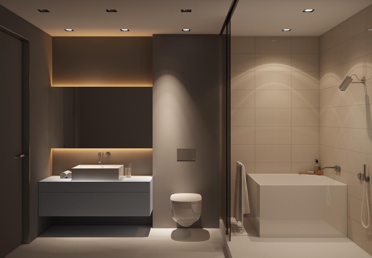 Een luxe warme badkamer met een lichte strakke gietvloer, ontworpen door Oekraïense ontwerpbureau Z.Design architecture.