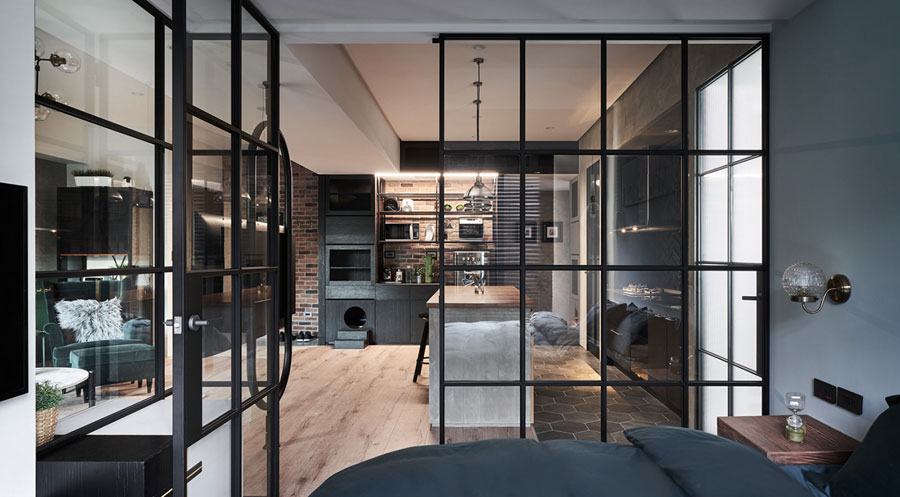 glazen wand deur slaapkamer