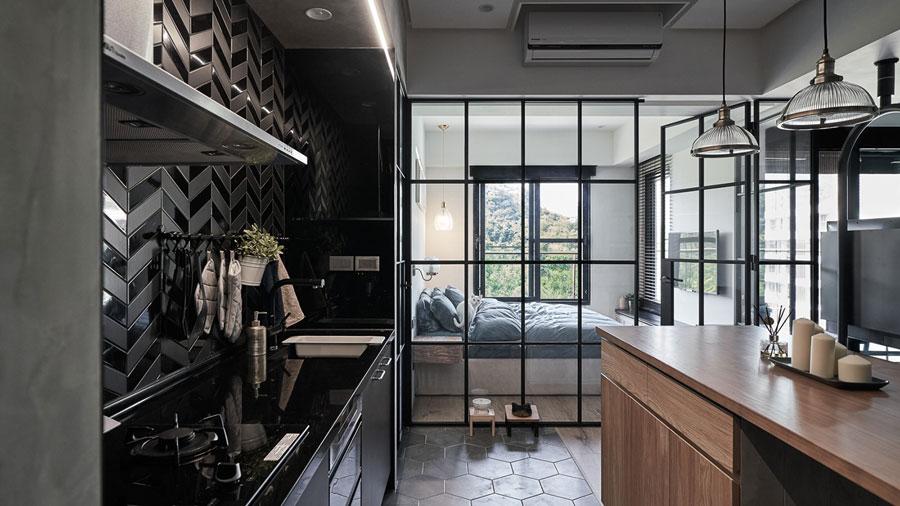 glazen wand slaapkamer keuken