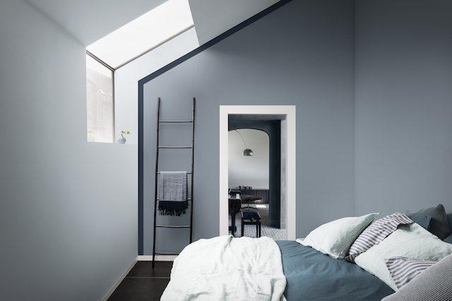 Grijs blauwe muren slaapkamer