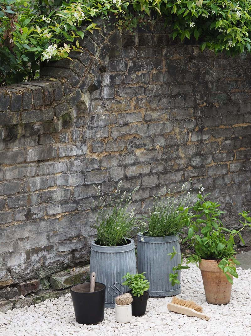 Grind tuin bloempotten