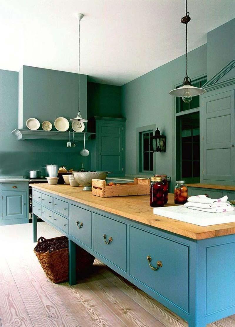 Groen interieur combineren blauw