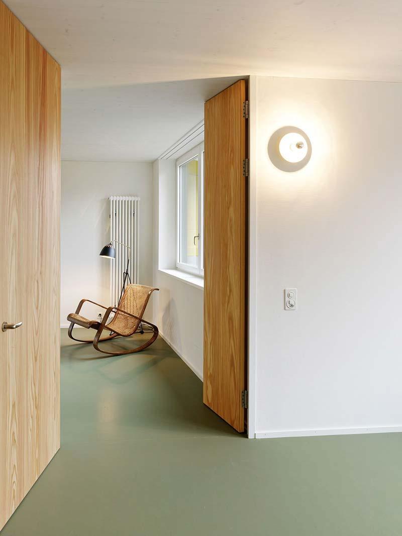 Groen interieur groene gietvloer