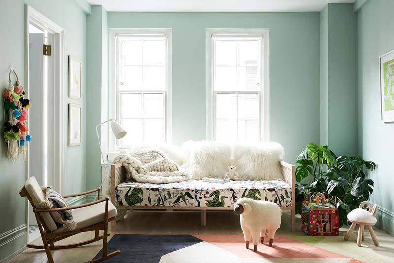 Groen interieur mintgroene muren