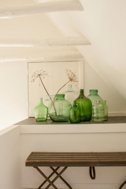 Groene glazen vazen
