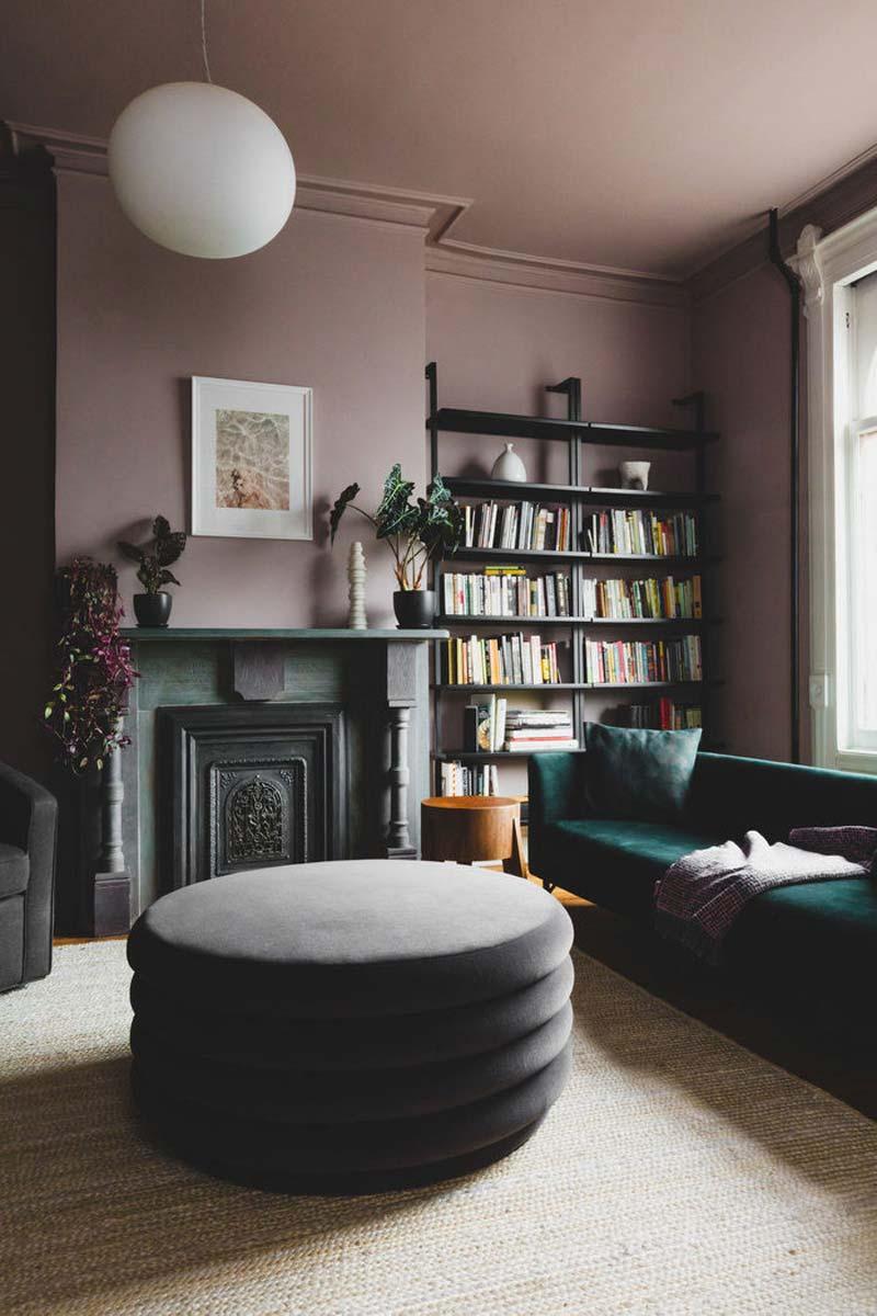 grote ronde fluwelen poef woonkamer