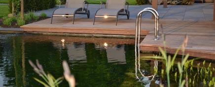 Grote tuin met zwemvijver