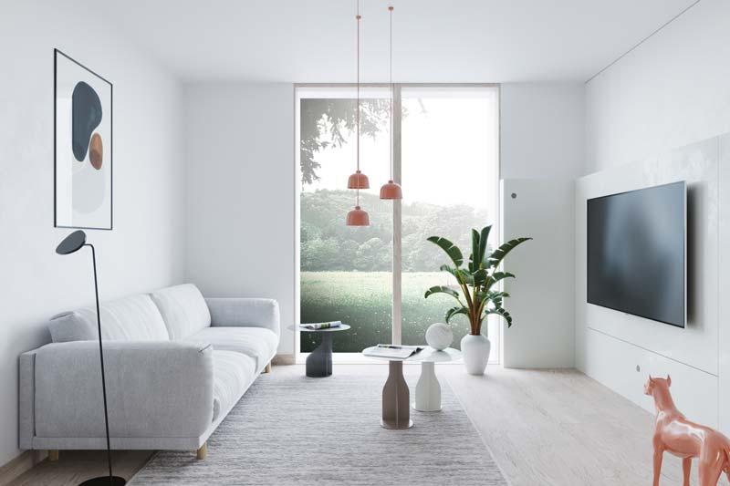 grote tv aan muur woonkamer