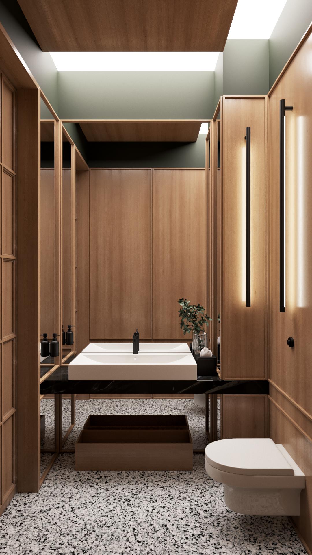 hangend toilet houten wandbekleding